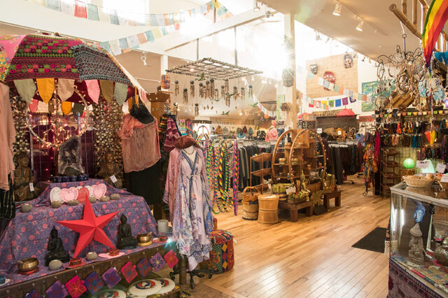 Panoramic view of a store with many indie items and imported items and trinkets