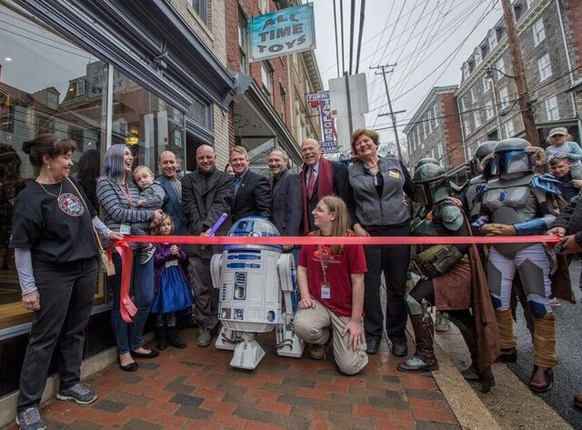 Toy Store Opening With RD2D at the red ribbon to be cut